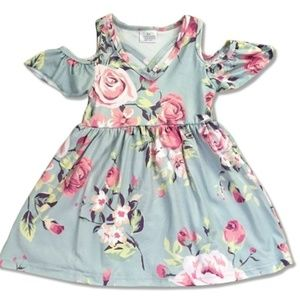 Dresses & Skirts - Flower Print/Mint Green Toddler Dress (2T-5)